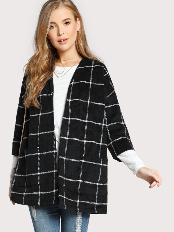 Grid Open Front Dropped Shoulder Coat, Daria B