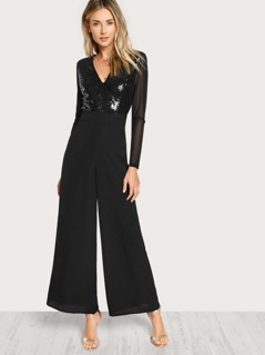 Sequin Bodice Wide Leg Jumpsuit