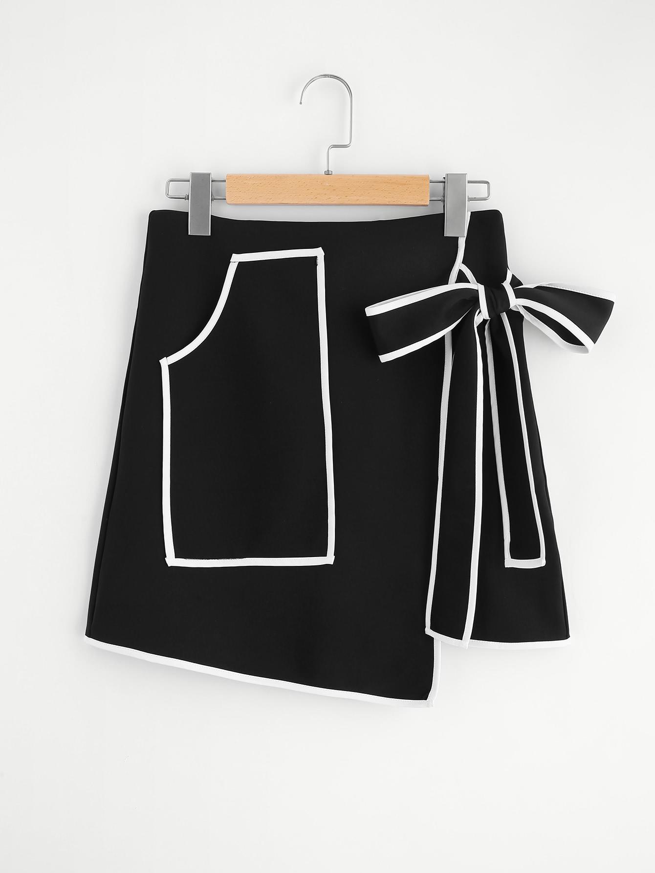 Купить Контрастная модная юбка с бантом и запахом, null, SheIn