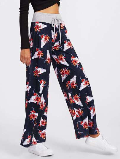 Botanical Print Drawstring Wide Leg Pants