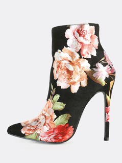 Floral Print Point Toe Booties BLACK