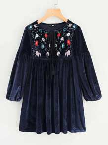 Botanical Embroidery Tasseled Tied Neck Velvet Dress