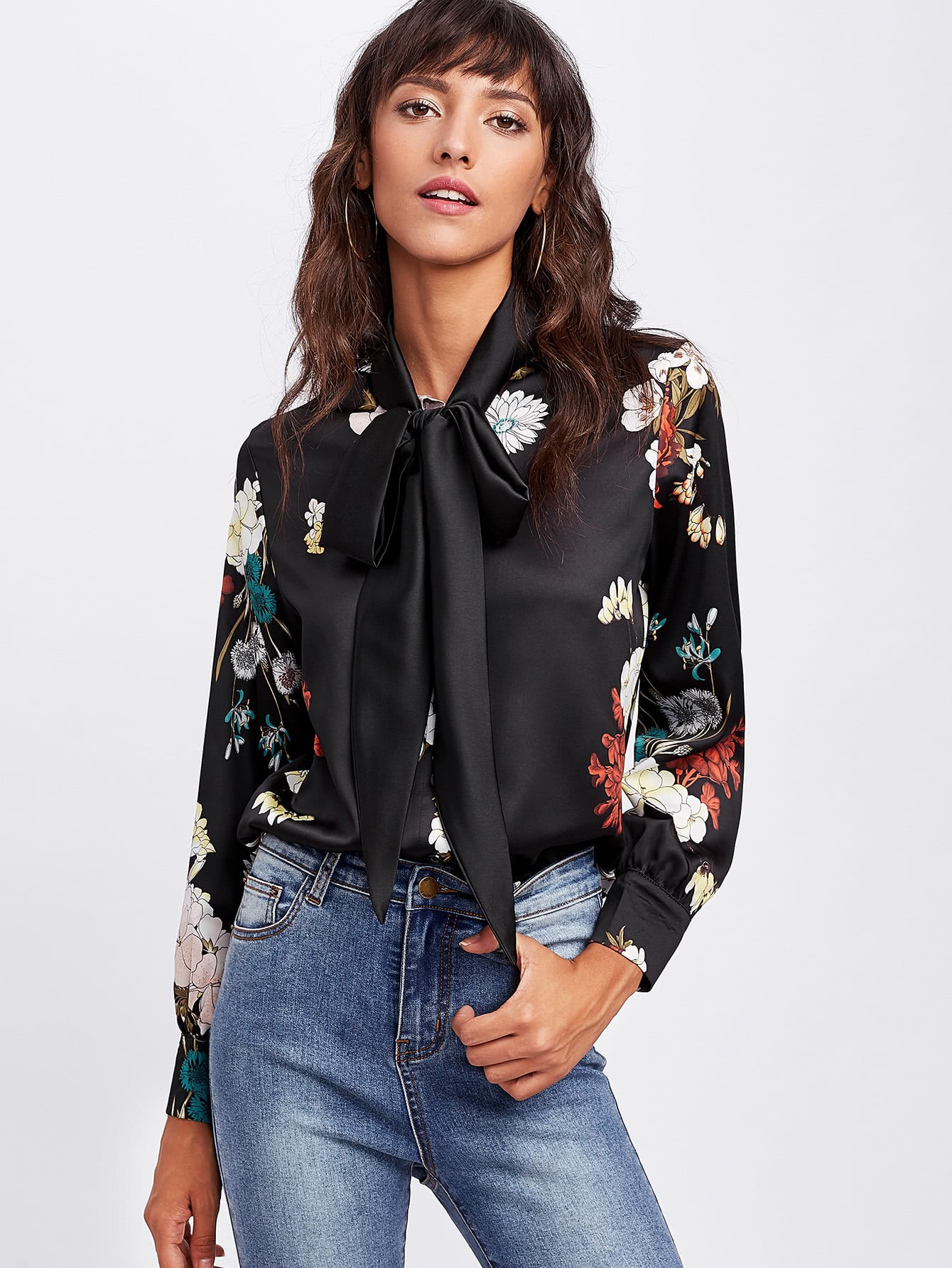 Купить Модная атласная рубашка с поясом и цветочным принтом, Camila, SheIn