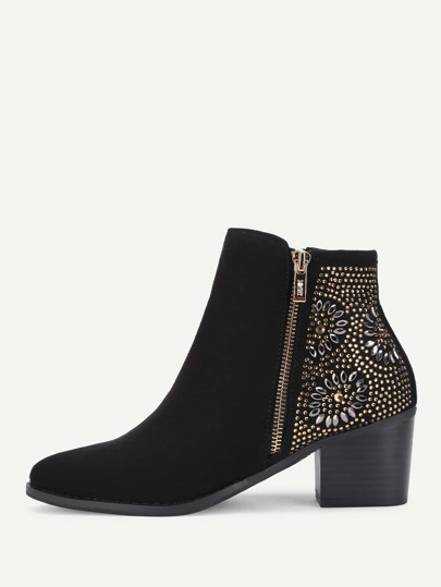 Rhinestone Flower Side Ankle Boots
