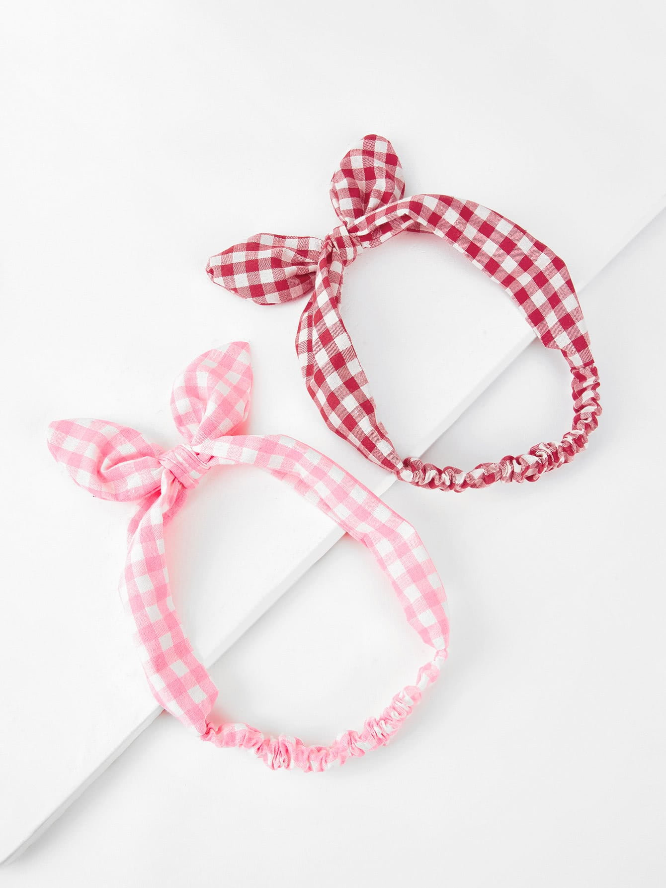 Knotted Bow Gingham Headband 2pcs knotted bow gingham headband 2pcs
