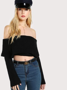 Double Layered Off Shoulder Crop Sweater BLACK