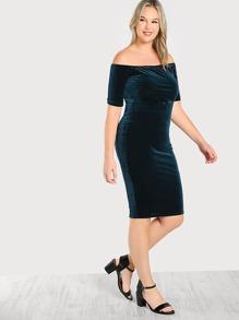 Off Sholder Velvet Dress TEAL