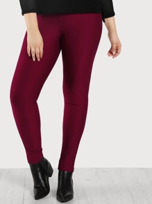 Piped High Rise Pants BURGUNDY