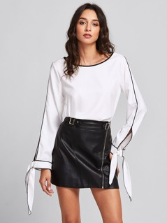 Slit Tied Cuff Tipping Detail Blouse