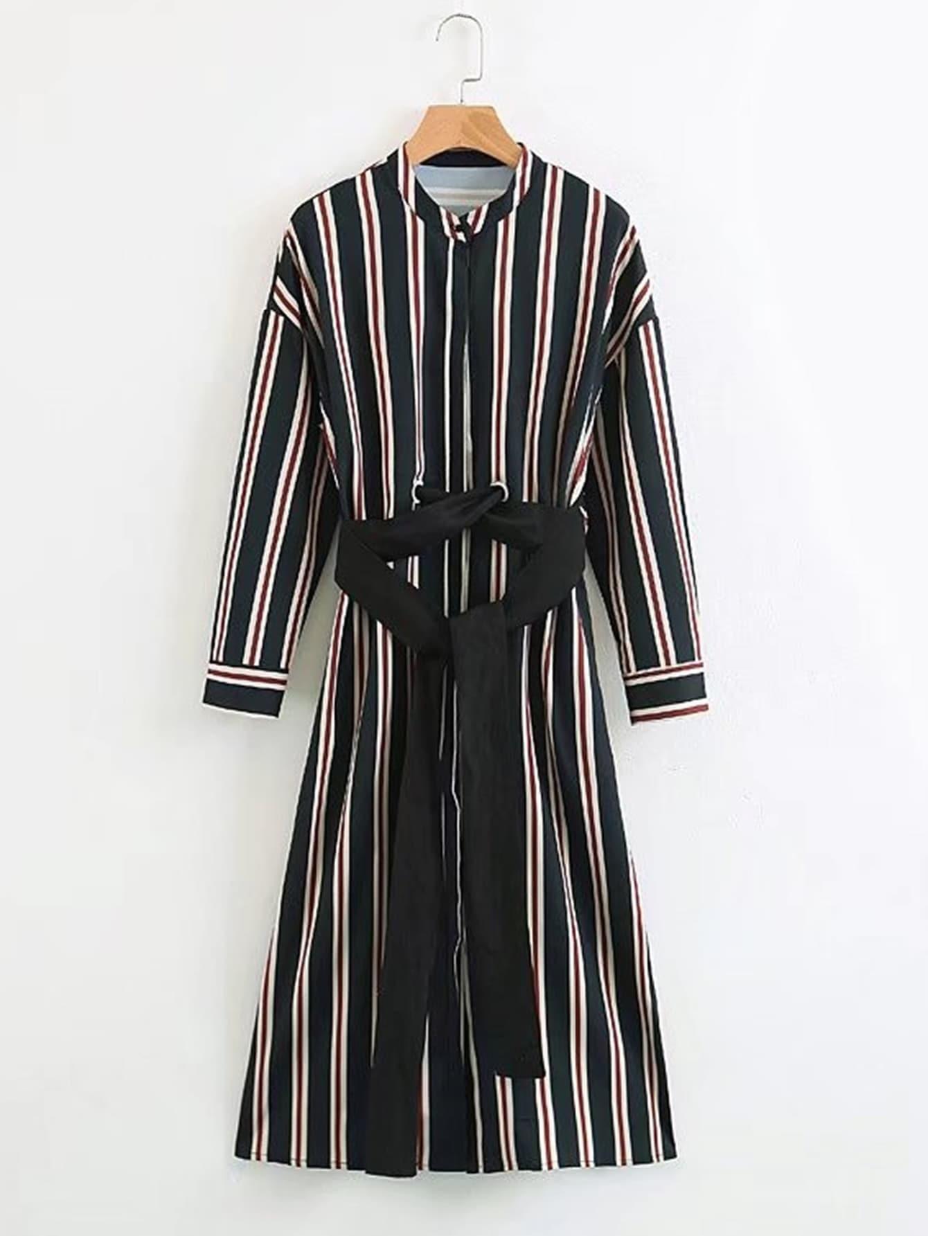 Vertical striped self tie shirt dress shein sheinside for Vertical striped dress shirt