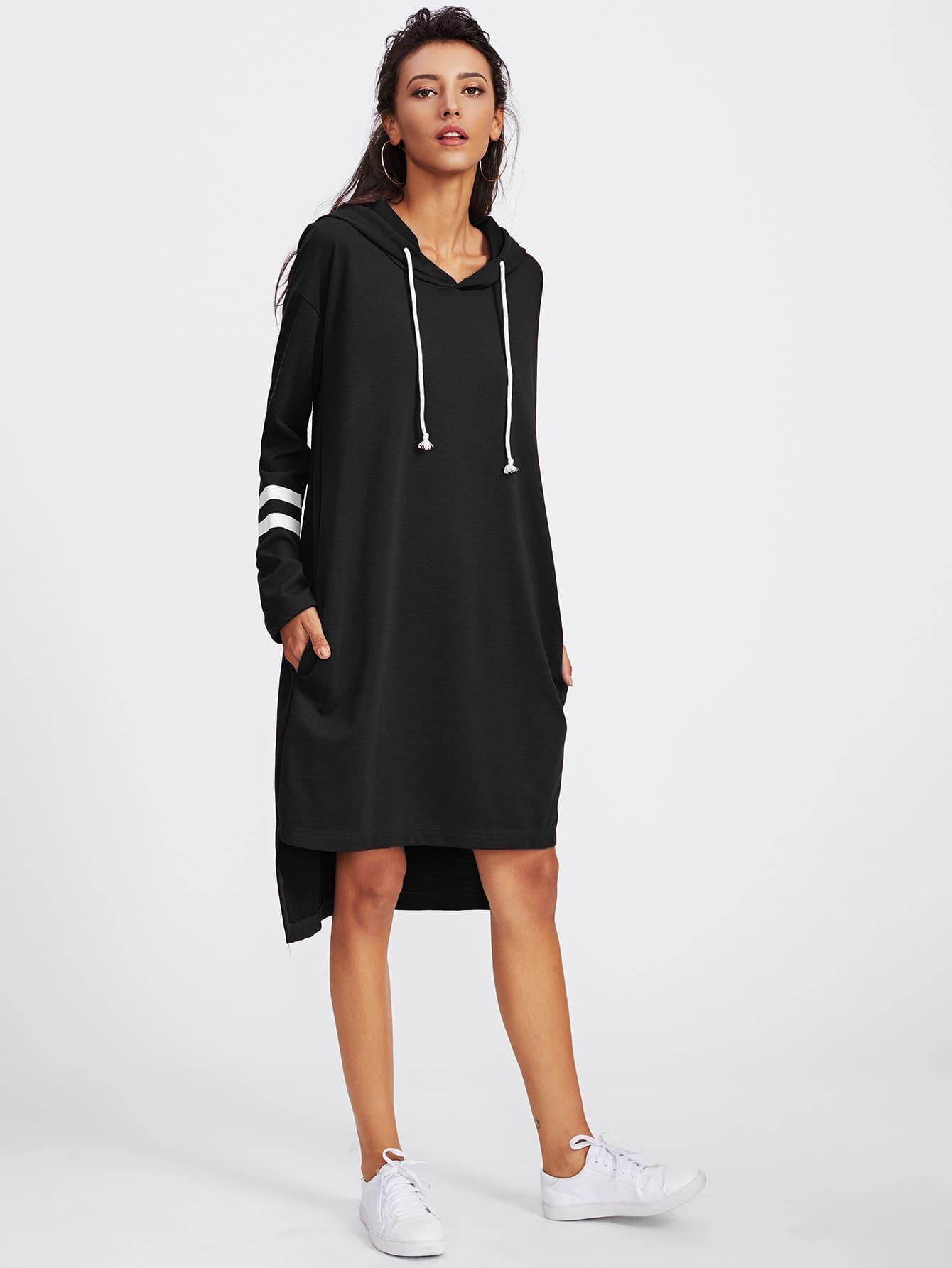 Varsity Striped Dip Hem Hoodie Dress varsity print raw hem hoodie