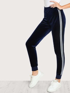 Velvet Side Striped Jogger Pants NAVY