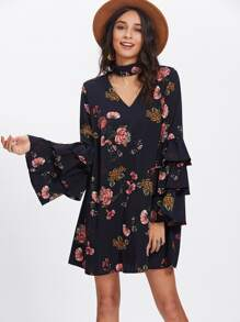 Tiered Bell Sleeve Choker Neck Swing Dress