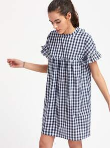 Checkered Ruffle Sleeve Keyhole Tie Back Smock Dress