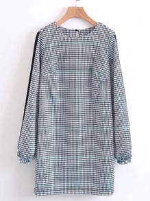 Grid Detail Keyhole Back Houndstooth Dress