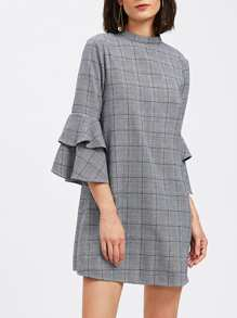 Keyhole Back Layered Bell Sleeve Check Dress