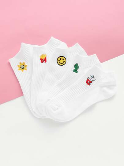 Embroidery Cartoon Detail Ankle Socks 5pairs