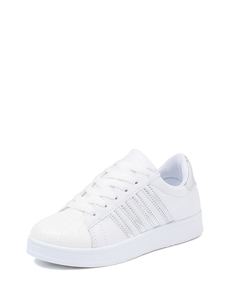Metallic Stripe Lace Up Sneakers