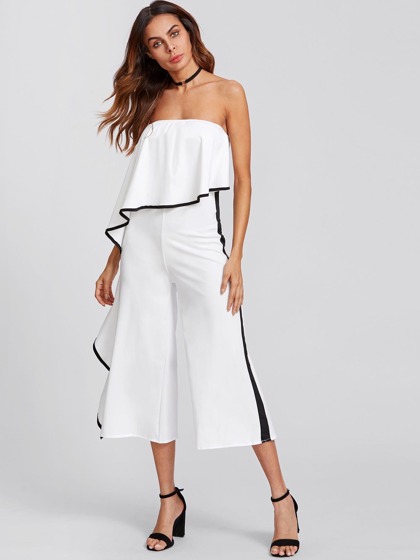 Contrast Trim Frill Strapless Jumpsuit black one shoulder frill layered design jumpsuit