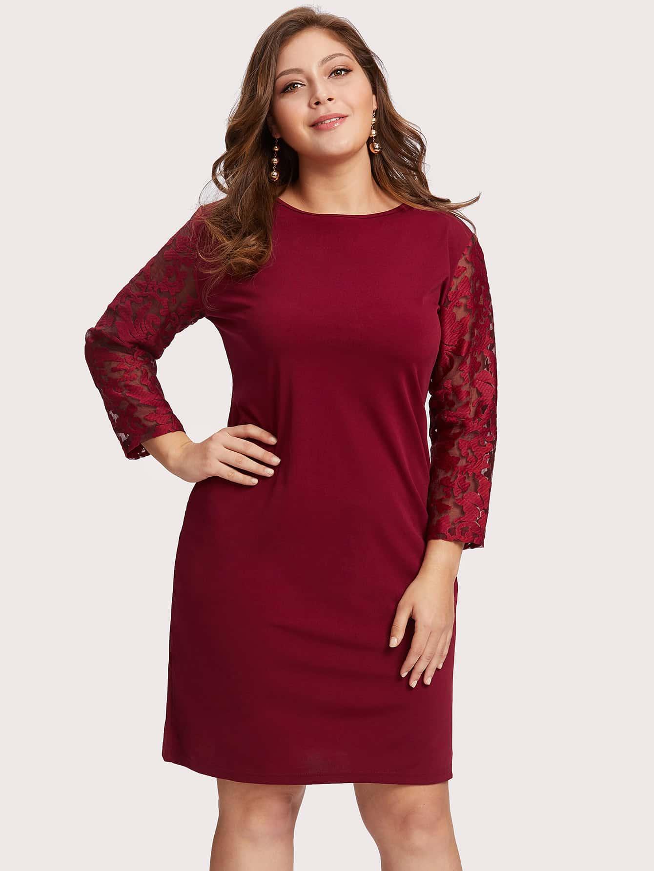 Купить Модное платье с кружевной вставкой, Carol, SheIn