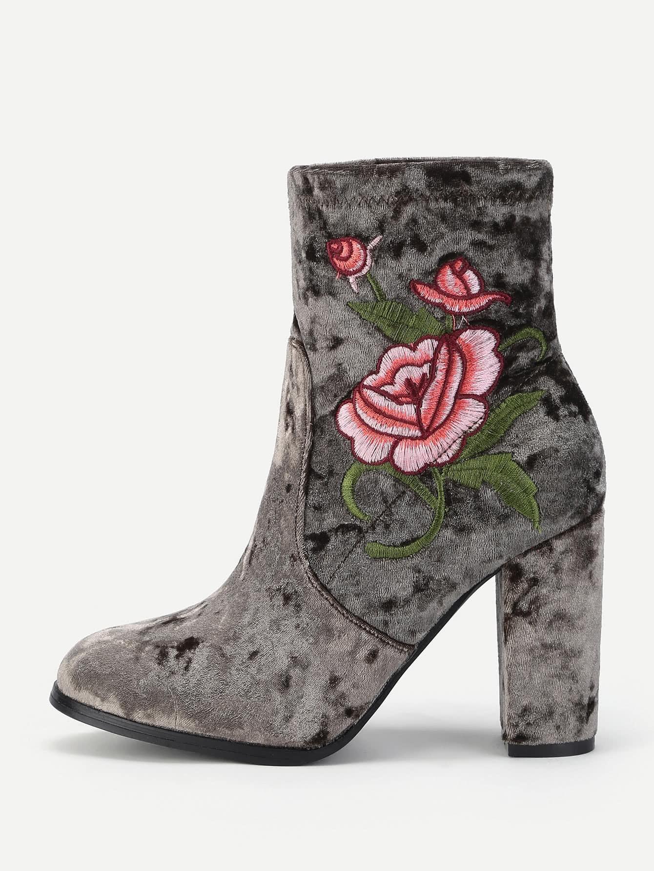 Flower Embroidered Velvet High Heeled Boots rhinestone flower embellished heeled boots