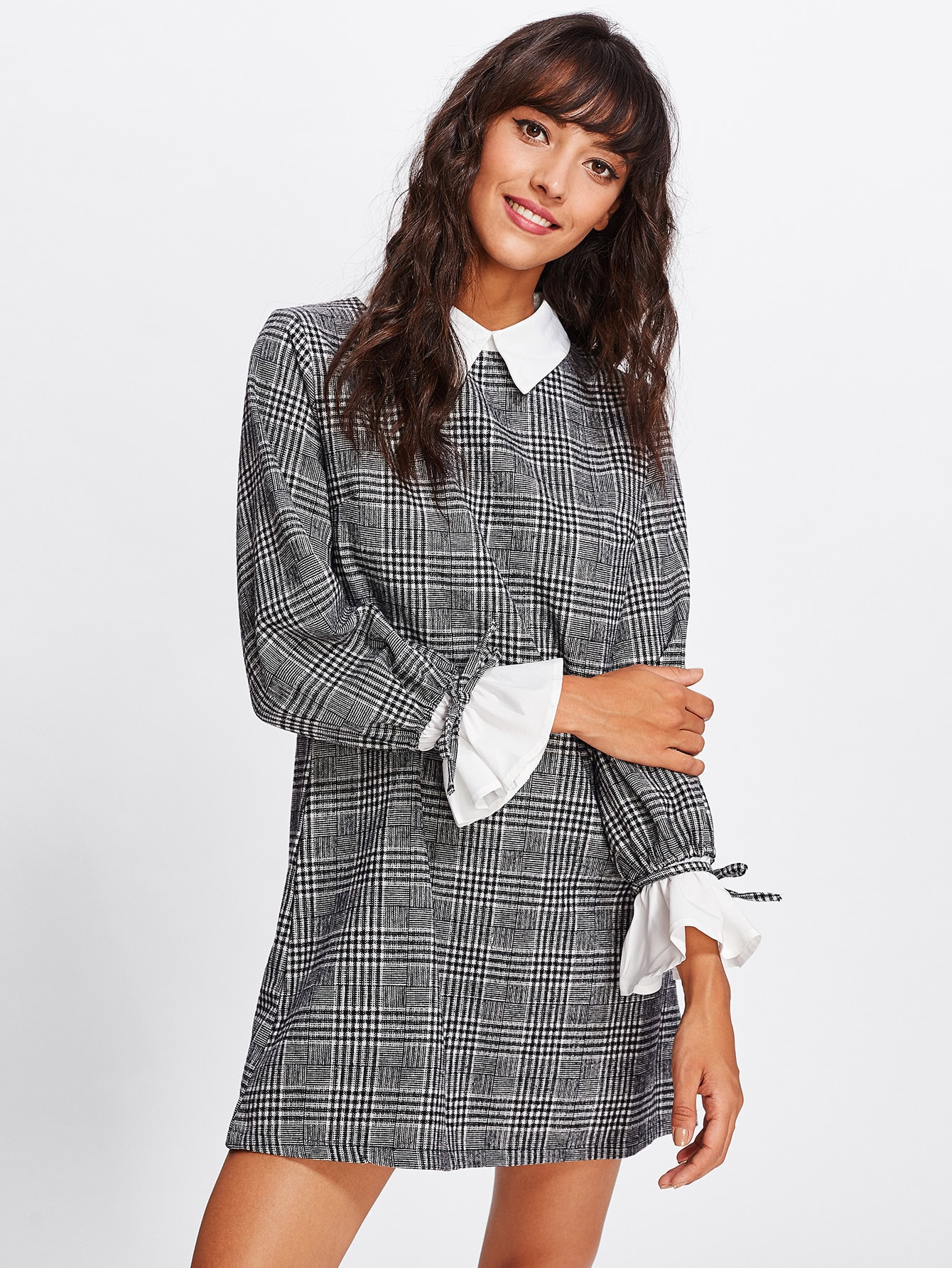 Contrast Tied Bell Cuff And Collar Plaid Dress jackie kay fiere