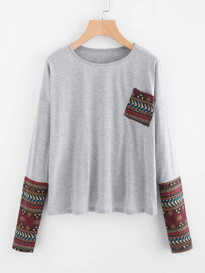 Drop Shoulder Contrast Sleeve Tee