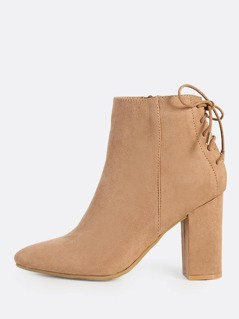Zip Up Faux Suede Booties CAMEL