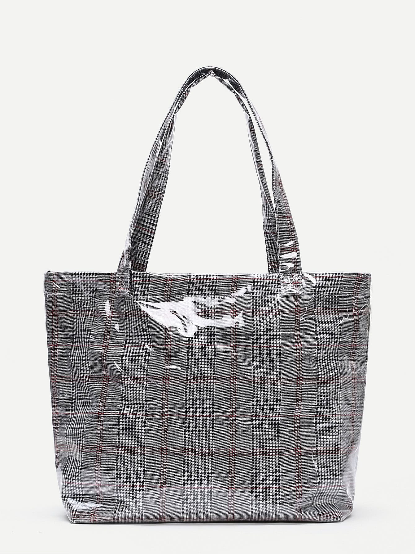 Gingham Print Tote Bag