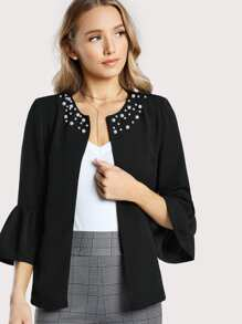 Pearl Beading Bell Sleeve Frilled Blazer