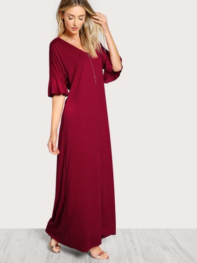 Trumpet Sleeve Twist Back Dress