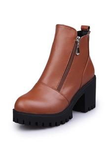 Side Zipper Platform Ankle Boots