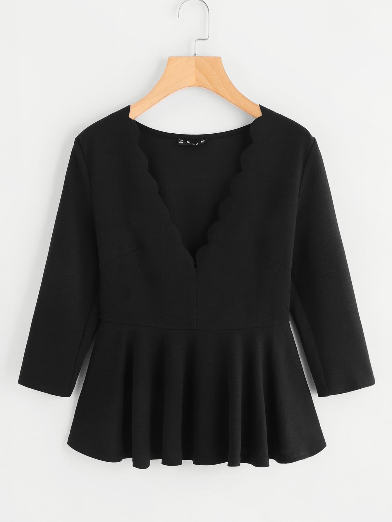 Купить Модная блуза с фестонами и оригинальным вырезом, null, SheIn