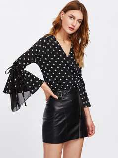 Star Print Double Breasted Blouse