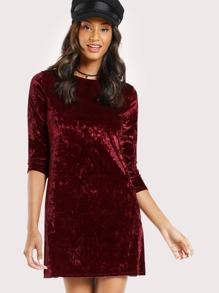 Quarter Sleeve Velvet Dress WINE