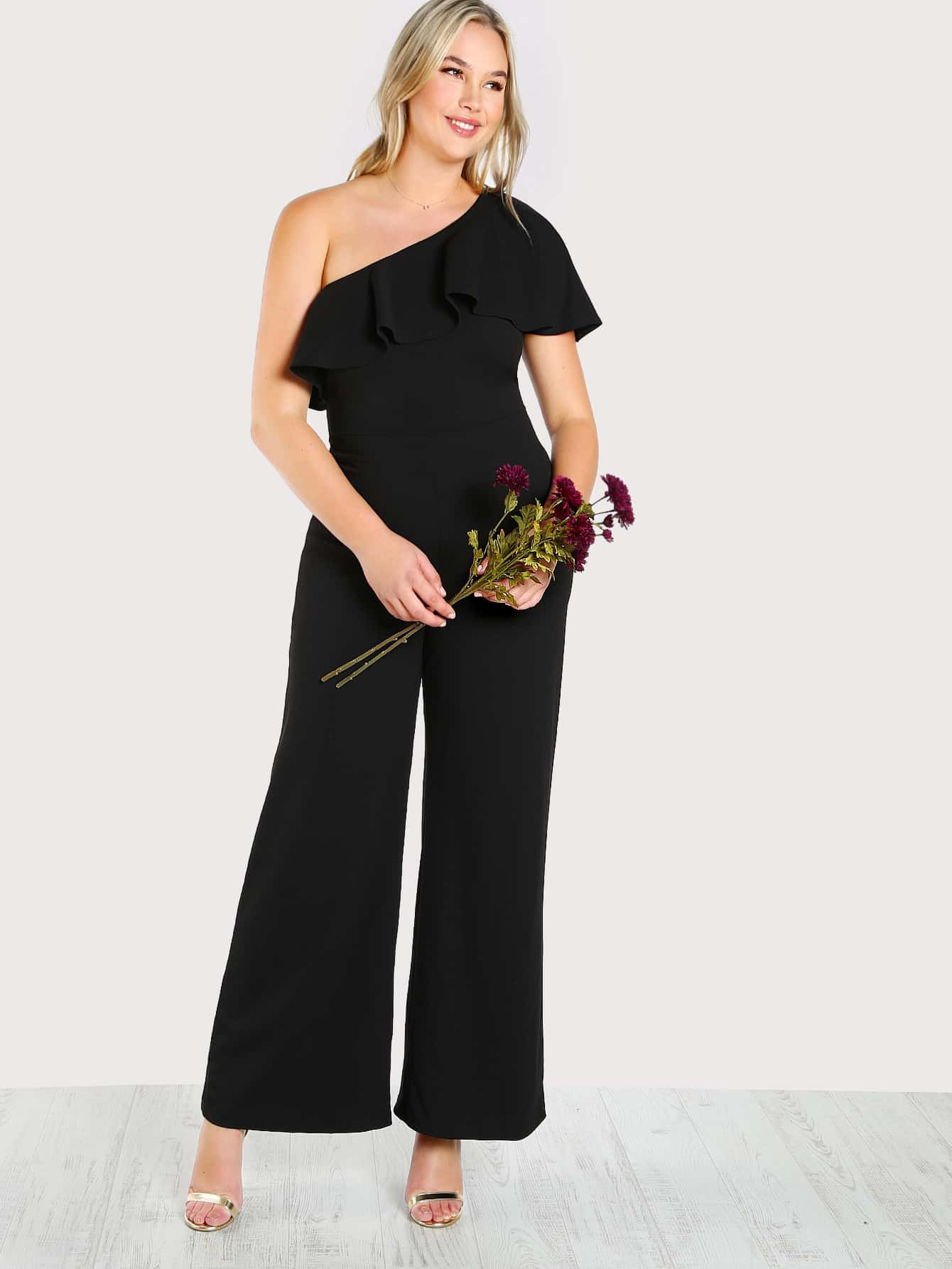 One Shoulder Ruffle Palazzo Jumpsuit