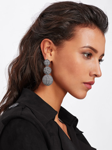 Layered Half Ball Houndstooth Earrings