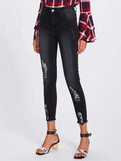 Dark Wash Raw Cut Hem Shredded Jeans