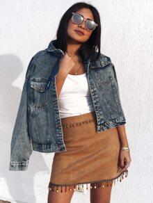 Pom Pom Embroidery Tape Beading Fringe Hem Suede Skirt