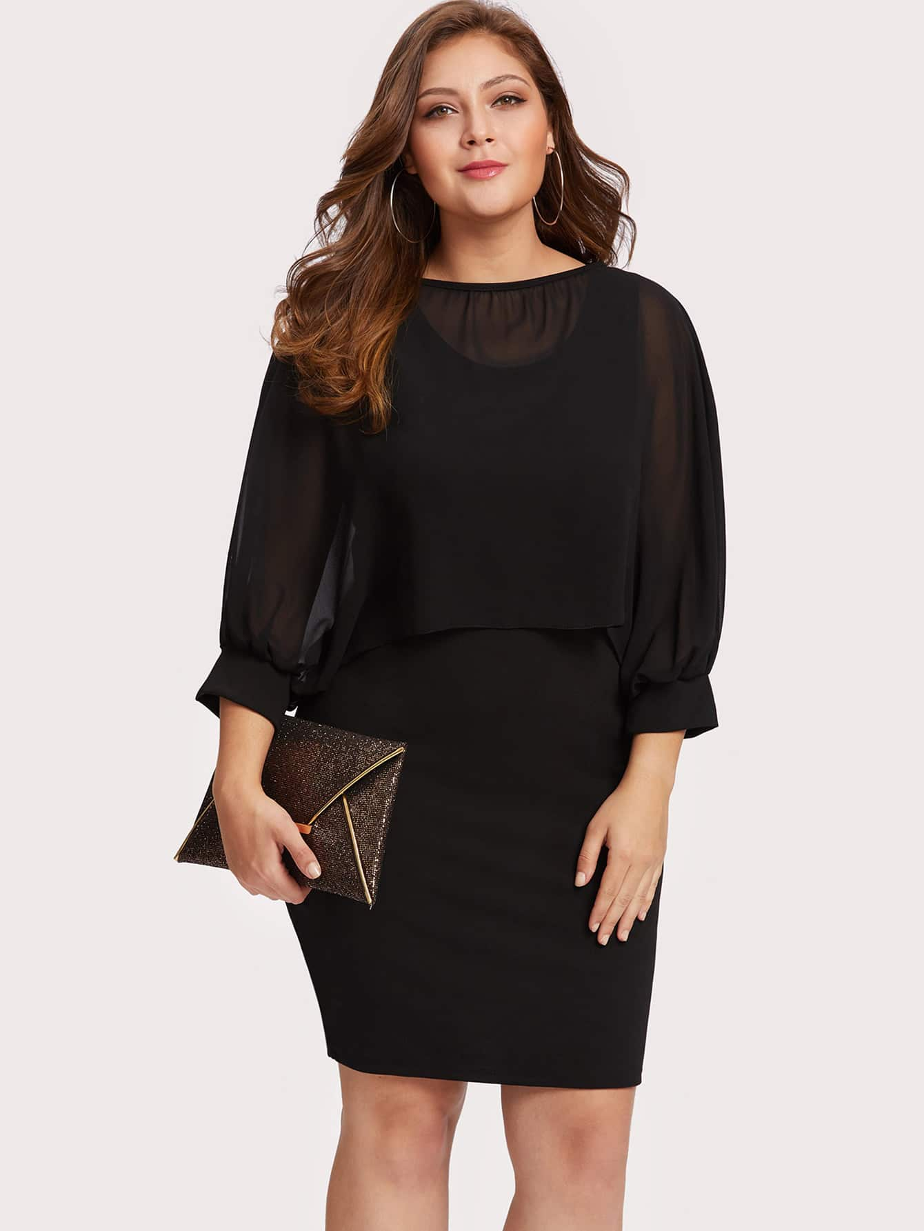 Image of Batwing Sleeve 2 In 1 Dress