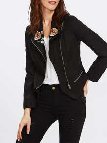 Flower Embroidered Asymmetric Zip Biker Jacket