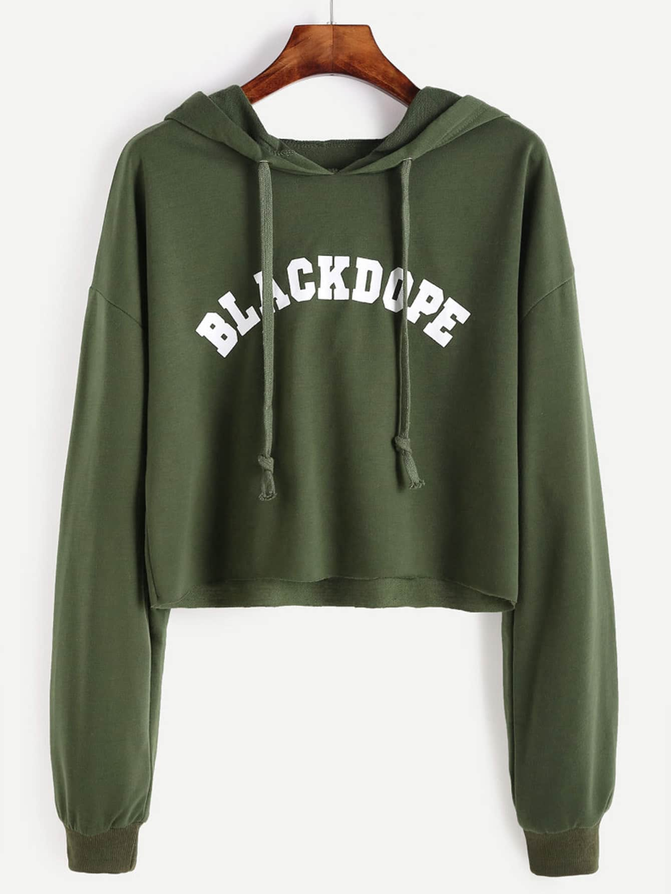 Drop Shoulder Letter Print Raw Hem Crop Hoodie куртка mavi 110081 24312