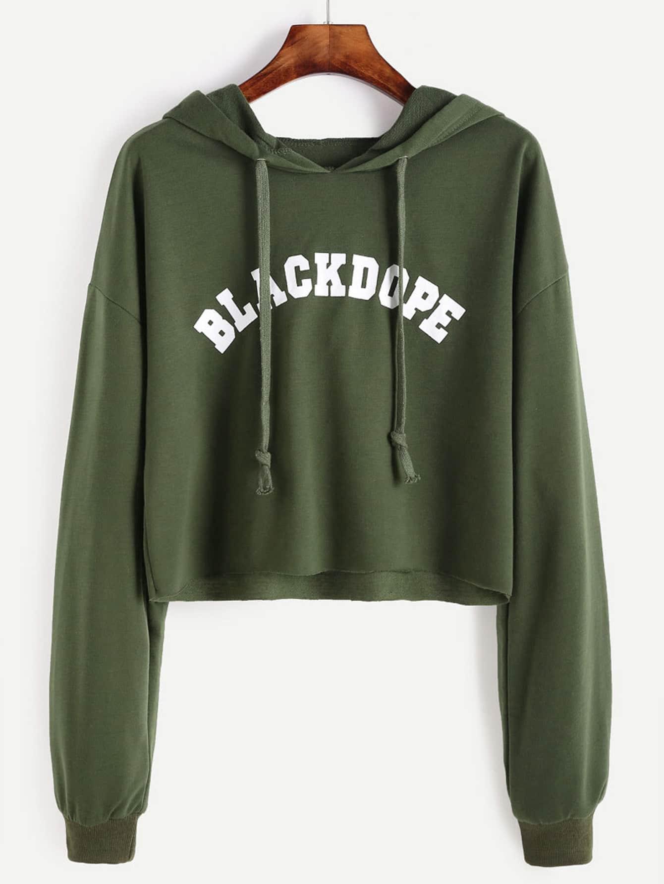 Drop Shoulder Letter Print Raw Hem Crop Hoodie sweatshirt160928104