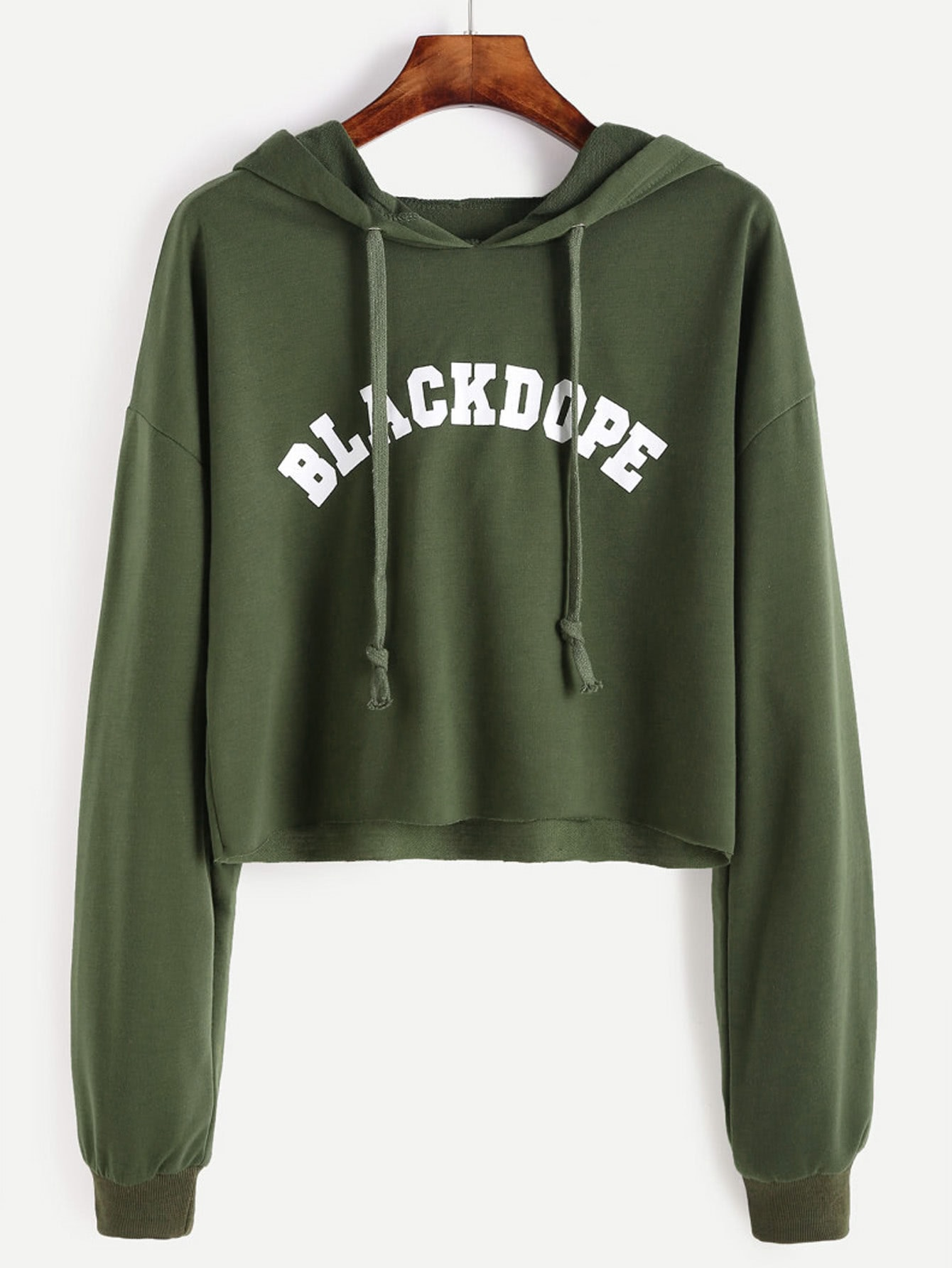 Drop Shoulder Letter Print Raw Hem Crop Hoodie