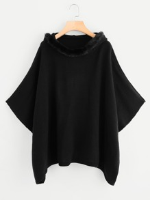 Faux Fur Hoodie Poncho Sweater