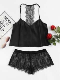 Eyelash Lace Y-Back Cami Top & Shorts Pajama Set