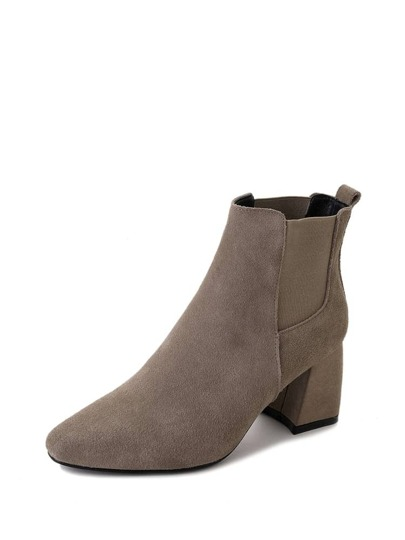 Block Heeled Ankle Chelsea Boots