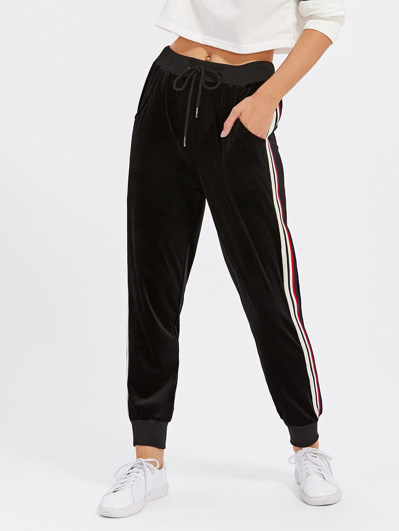 Stripe Contrast Velvet Pants