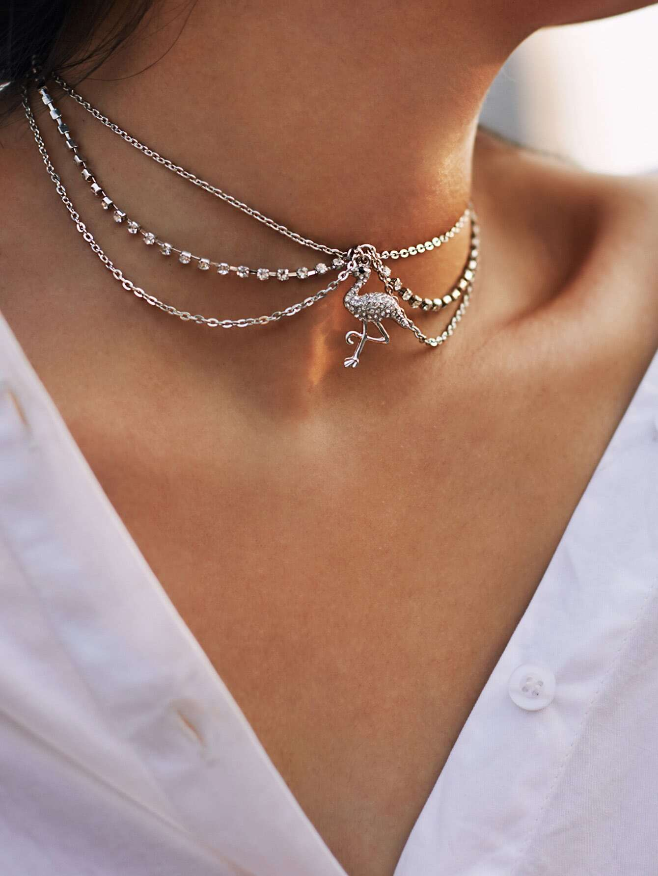 Flamingo Pendant Layered Chain Necklace cross pendant layered chain necklace