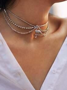 Flamingo Pendant Layered Chain Necklace